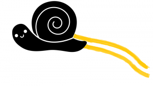 snail and yellow lines