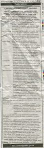 newspaper cutting of TRO ad
